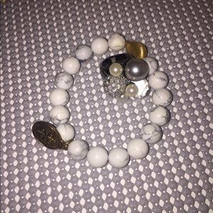 Jewelry - Costume ring and bracelet. White and grey